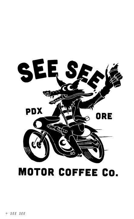 see see, motor, coffee, motorcycles, wolf, illustration